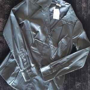 H&M gray button down shirt blouse
